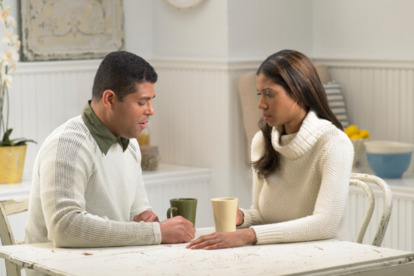 Man and woman having discussion