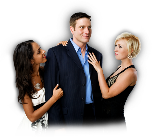A man appearing with adoring, attractive women