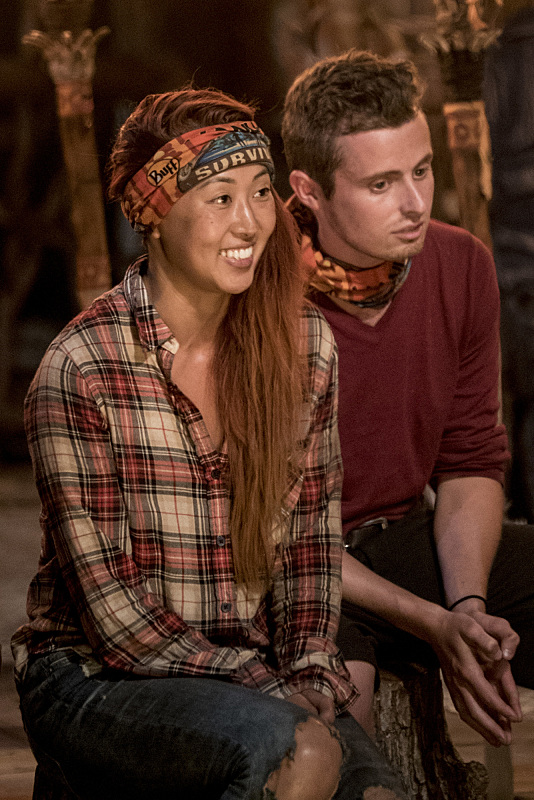 Mari Takahashi and Adam Klein at Tribal Council on Survivor: Millennials Vs. Gen-X