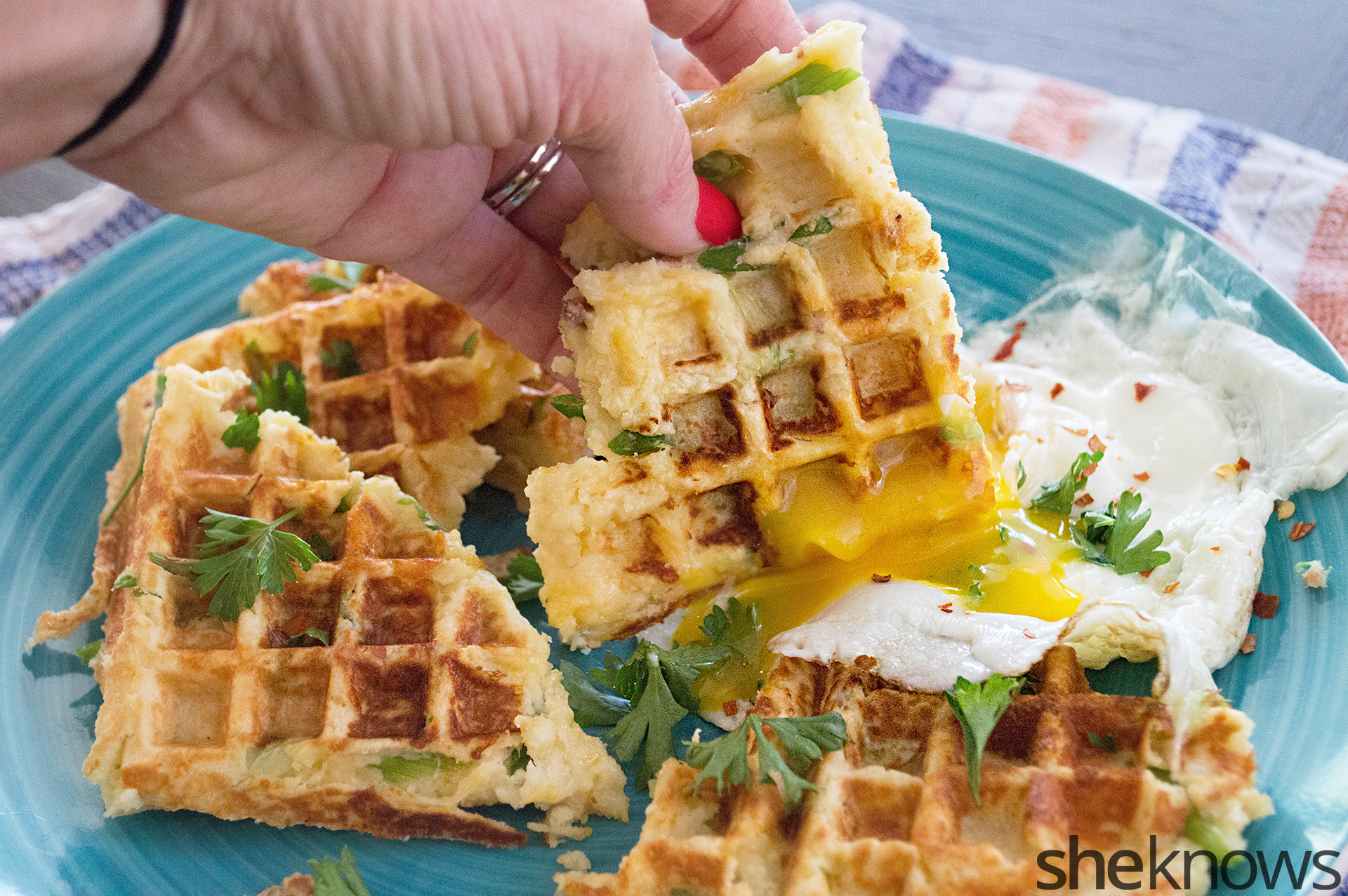 mashed potato cheddar waffles