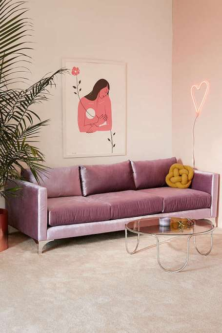 Modern Victorian Decor: Any room looks a little fancy with a velvet sofa as its centerpiece