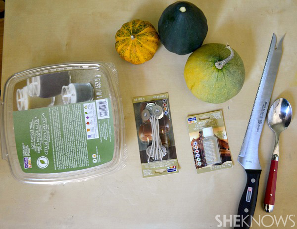 materials needed for pumpkin candles