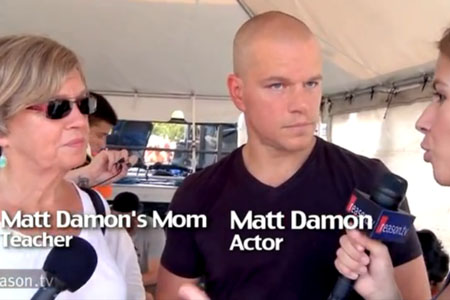 Matt Damon gives reporter something to talk about