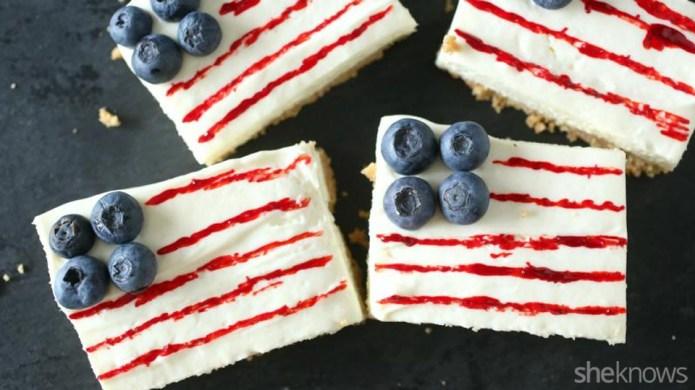 Easy American flag cheesecake bars
