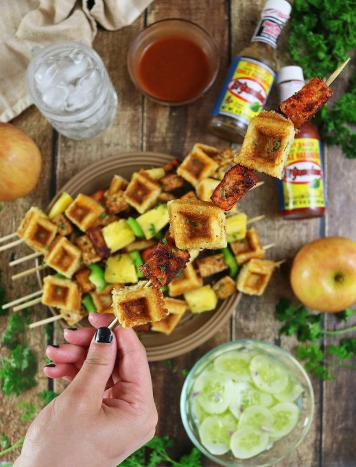 11 Sweet and Savory Waffle Recipes: Chicken and waffles get a vegetarian spin in this recipe.