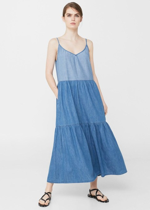 Denim Dresses Are Back: Mango Contrasting Denim Dress | Summer Fashion Trends