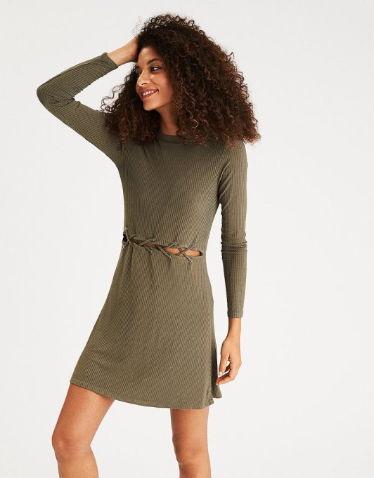 Must-Have Long Sleeve Dresses   Soft & Sexy Cutout Waist Dress