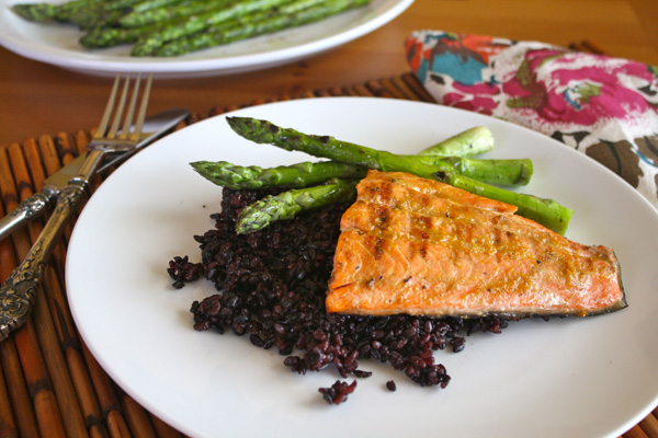 Meatless Monday: Grilled salmon with orange-miso glaze and black sticky rice