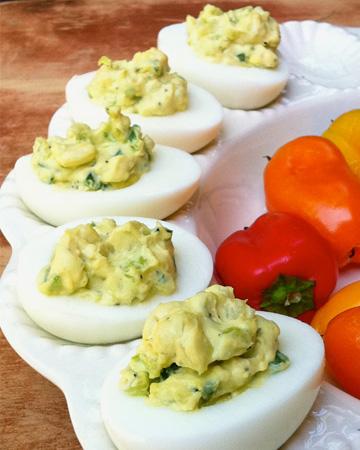 Jalapeño deviled eggs