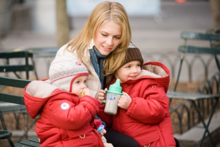 Melissa Joan Hart takes a break from Melissa and Joey to visit with her kids