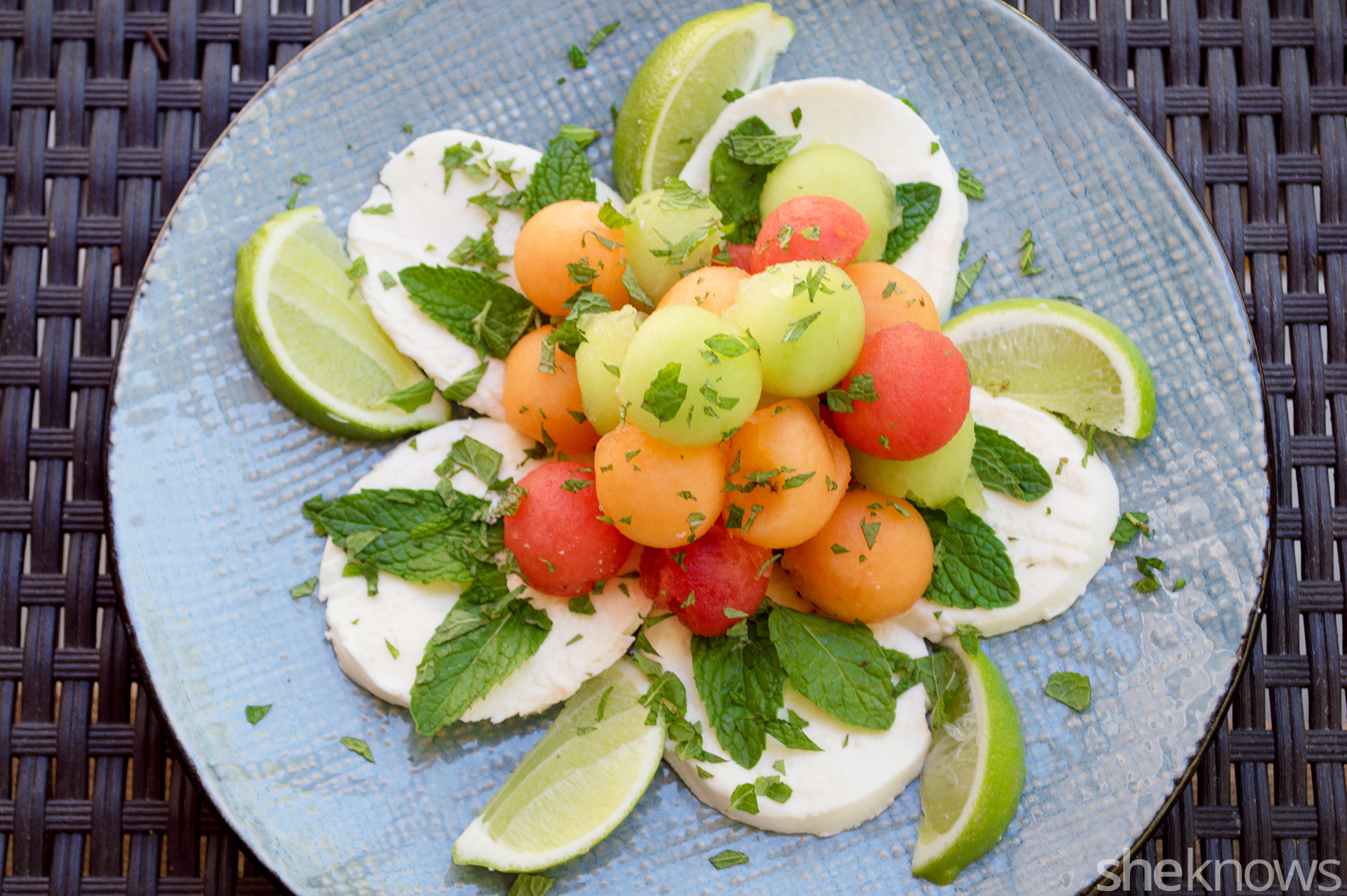 Triple melon mozzarella salad with lime dressing and mint recipe