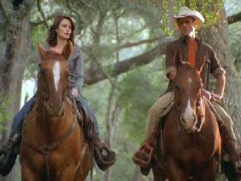 Laura Leighton takes a ride in Hallmark's Mending Fences