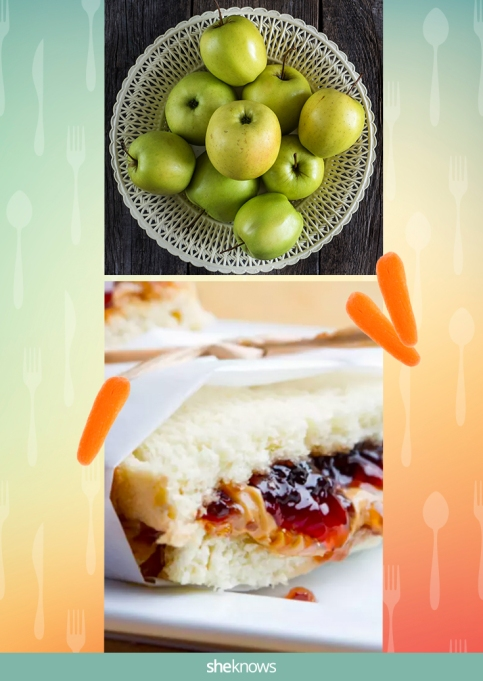 PB&J sandwich with a side of apples and carrots