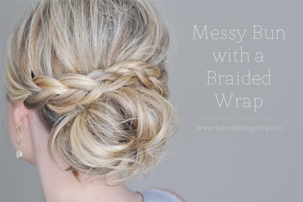 Messy bun with braided wrap