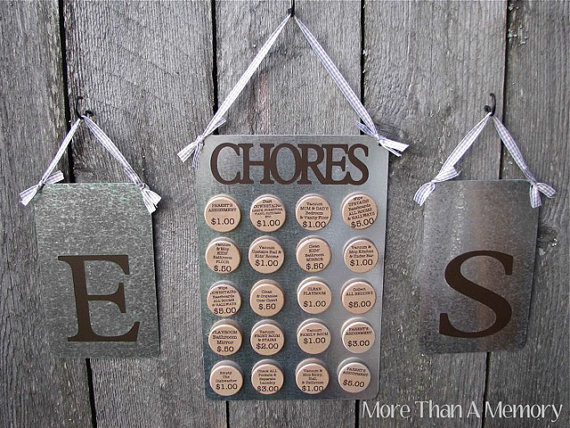metal board hangars and magnets chore chart