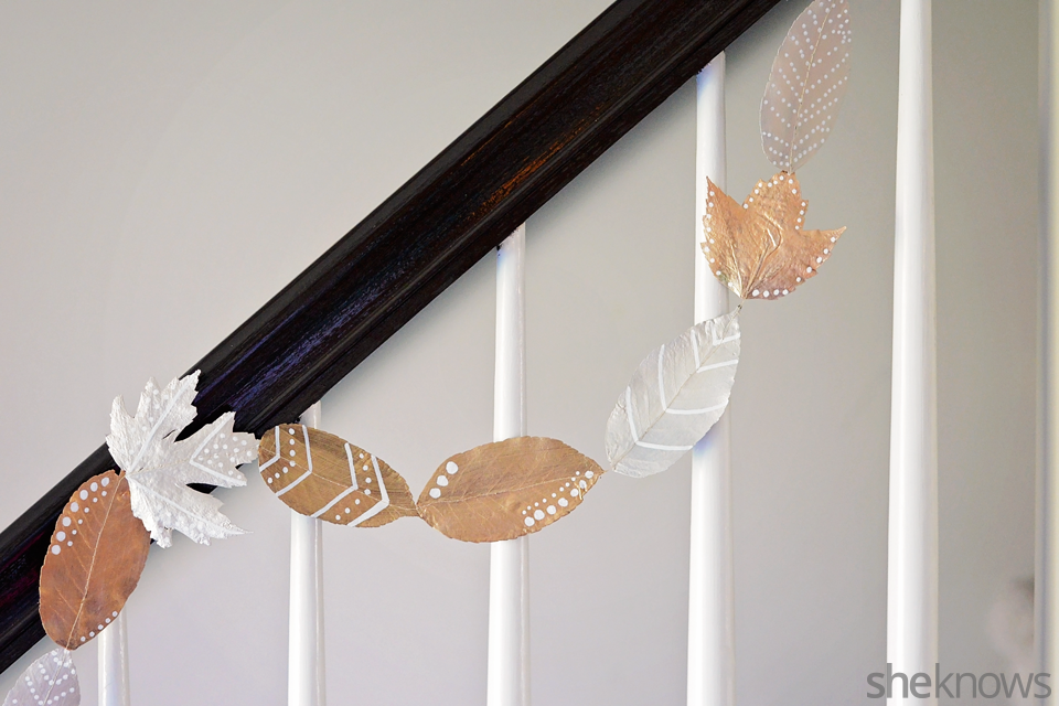 DIY metallic fall leaf garland