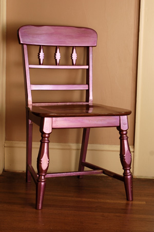 Metallic spray painted chair