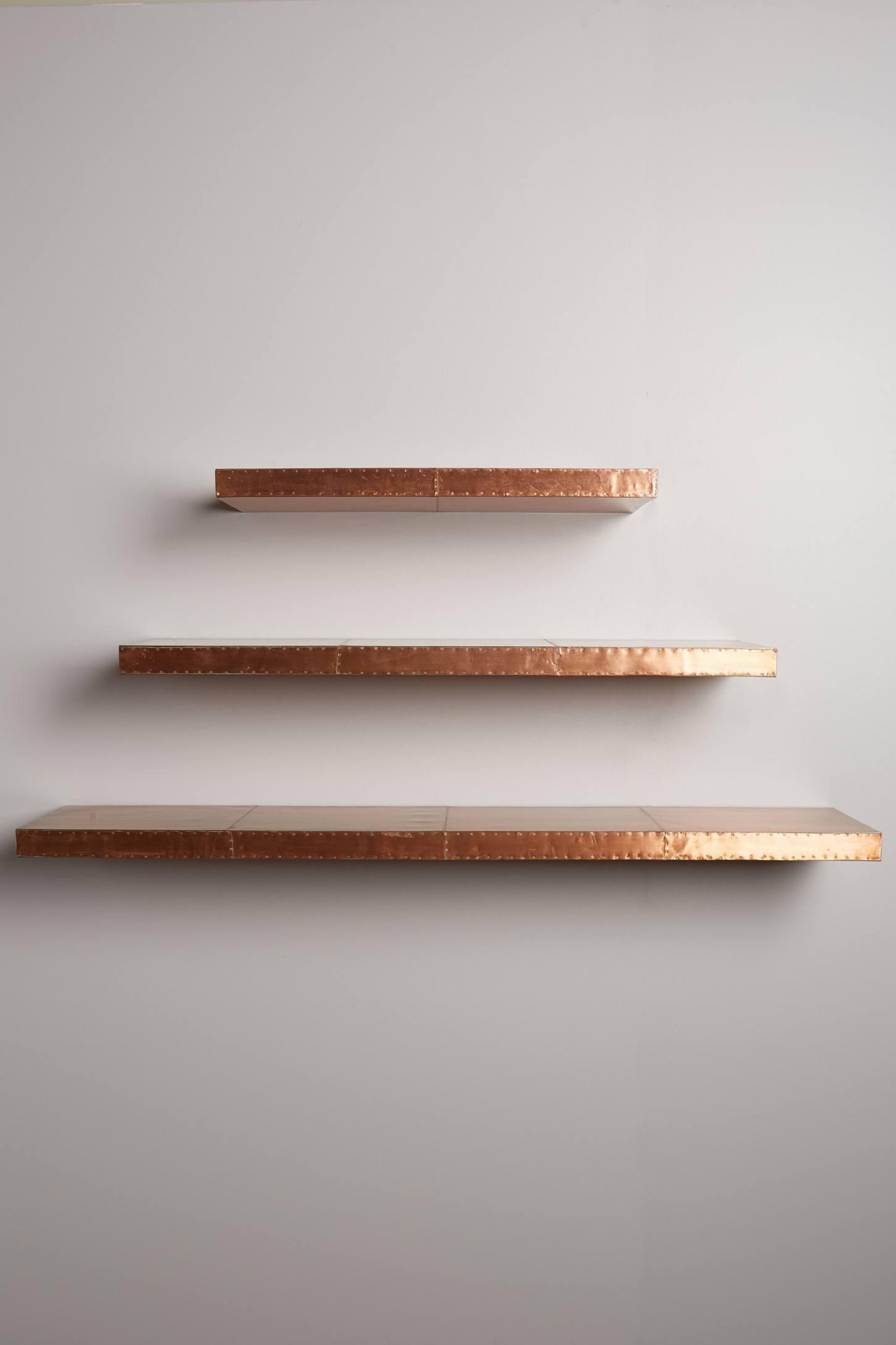 Metallic floating shelves