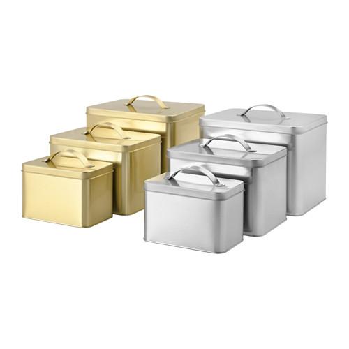 metallic kitchen containers