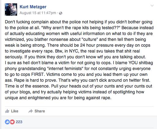 Kurt Metzger FB post