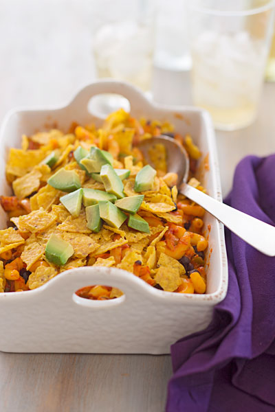 Mexican chicken macaroni and cheese casserole