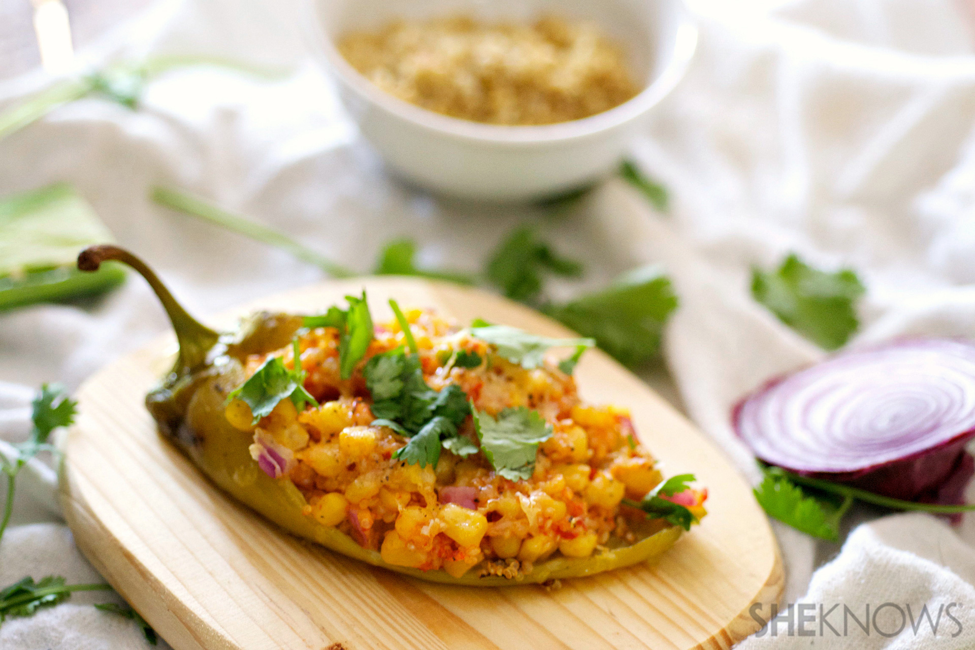 Mexican quinoa and corn stuffed peppers