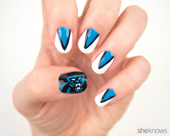 Carolina Panthers nail design for ultimate