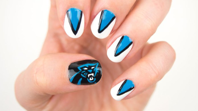 Carolina Panthers nail design for ultimate