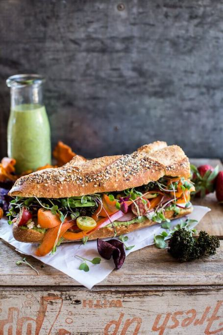 Sandwiches and Wraps for a Healthy Lunch | California Rainbow Veggie Sub with Goddess Dressing
