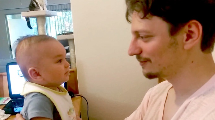 3-Month-old baby melts Dad's heart with
