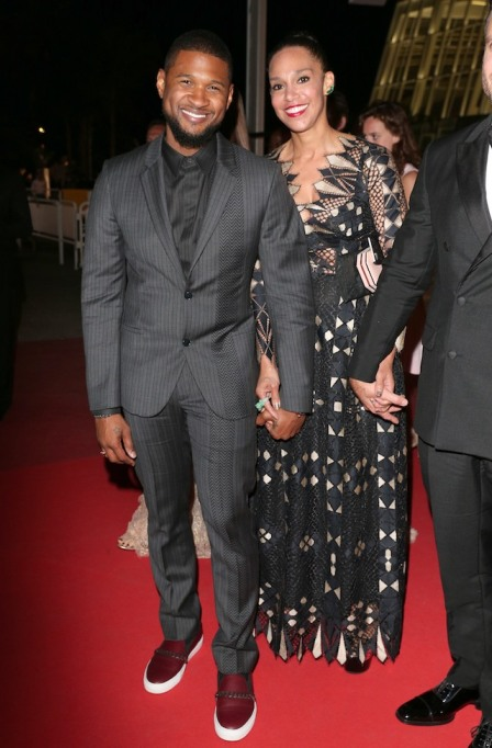Usher and Grace Miguel at the 'Hands of Stone' premiere