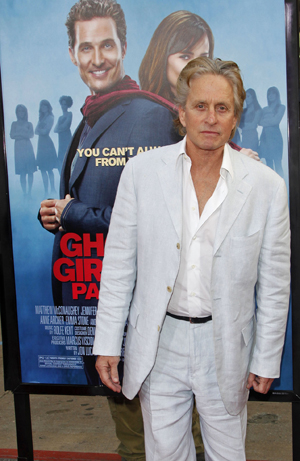 Moments after dinner, Michael Douglas hits Ghosts of Girlfriends Past