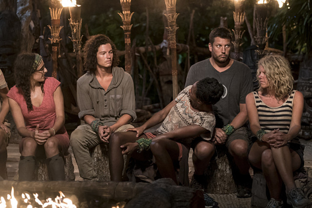 Michaela Bradshaw stares down Jay Starrett at Tribal Council on Survivor: Millennials Vs. Gen-X