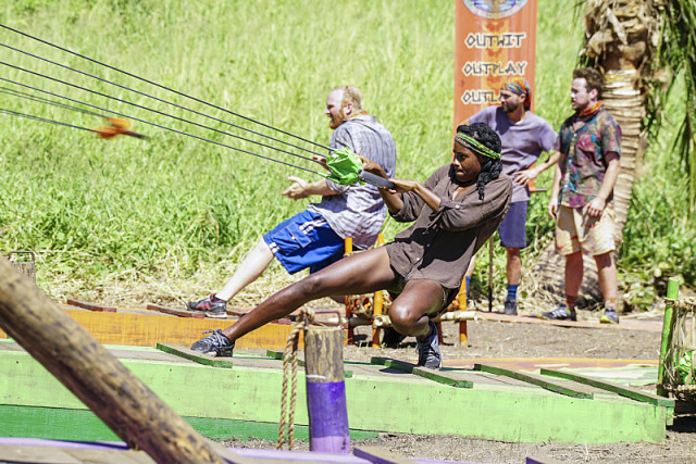 Michaela Bradshaw competes in slingshot challenge on Survivor: Millennials Vs. Gen-X