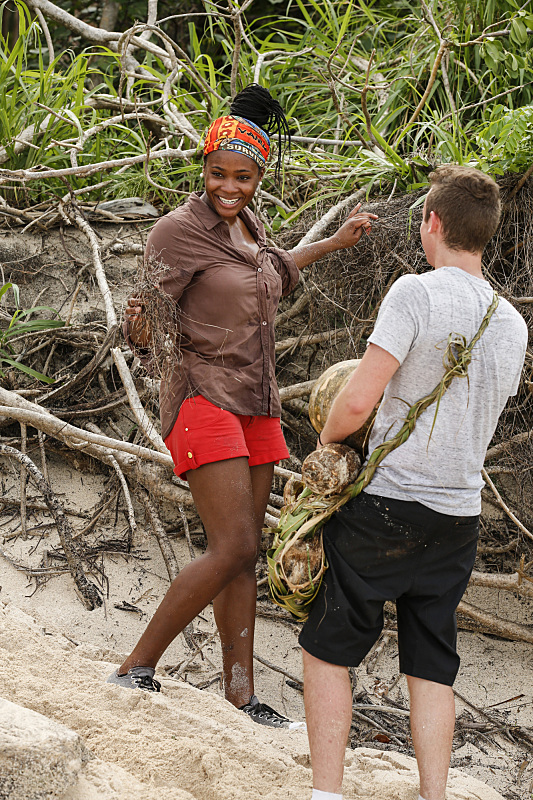 Michaela Bradshaw with Adam Klein on Survivor: Millennials Vs. Gen-X