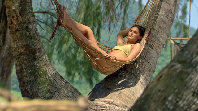 Michele Fitzgerald relaxes at camp on Survivor: Kaoh Rong