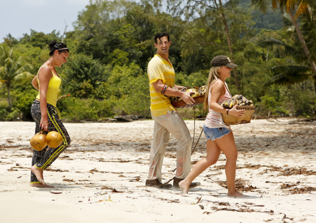 Michele Fitzgerald, Nick Maiorano and Julia Sokolowski work at Beauty camp on Survivor: Kaoh Rong