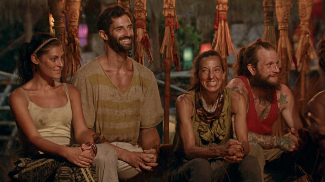 Michele Fitzgerald, Nick Maiorano, Debbie Wanner and Kyle Jason at Tribal Council on Survivor: Kaoh Rong