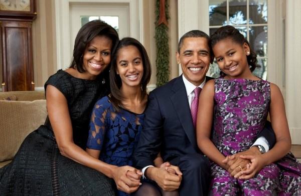 Michelle, Barack, Sasha and Malia Obama