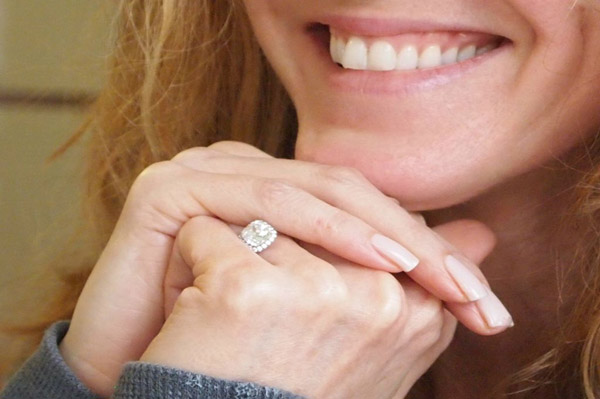 Michelle Rounds shows engagement ring