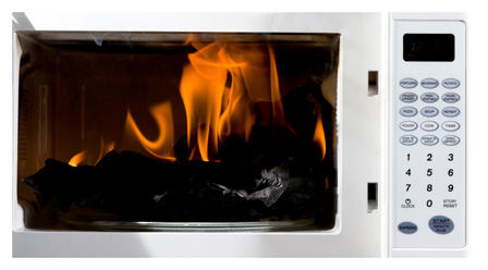 Microwave on fire