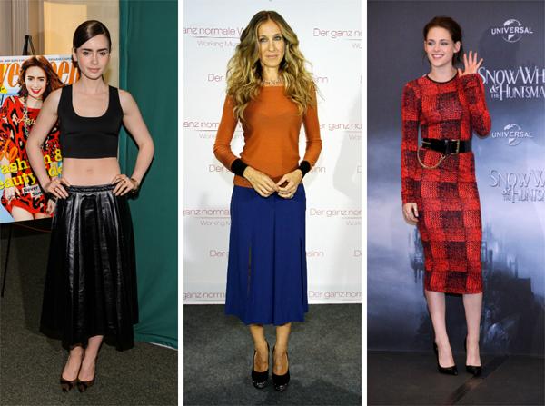 Celebrities wearing midi-skirts