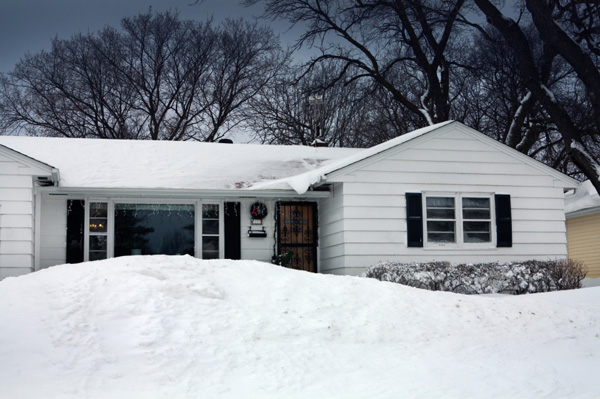 Midwest home in winter