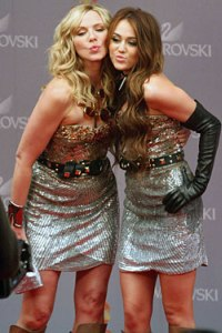 Miley Cyrus and Kim Cattrall