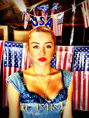 Miley Cyrus tweeted this photo on the Fourth of July