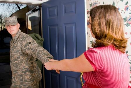 Military husband leaving