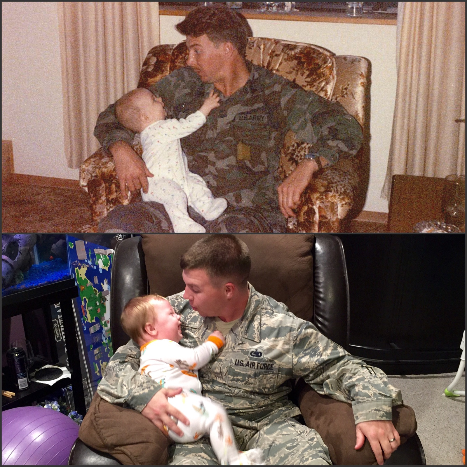 Military photo recreation with dad and son