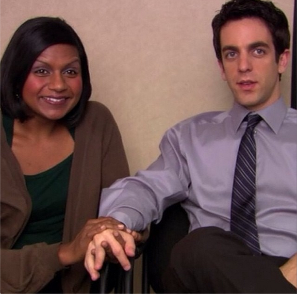 Mindy Kaling and B.J Novak holding hands