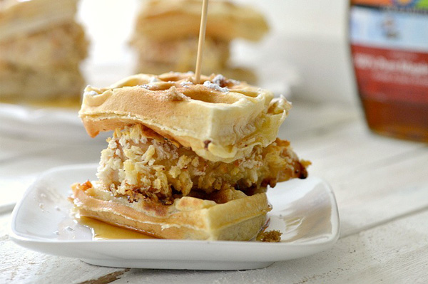 Mini chicken and waffle sandwich