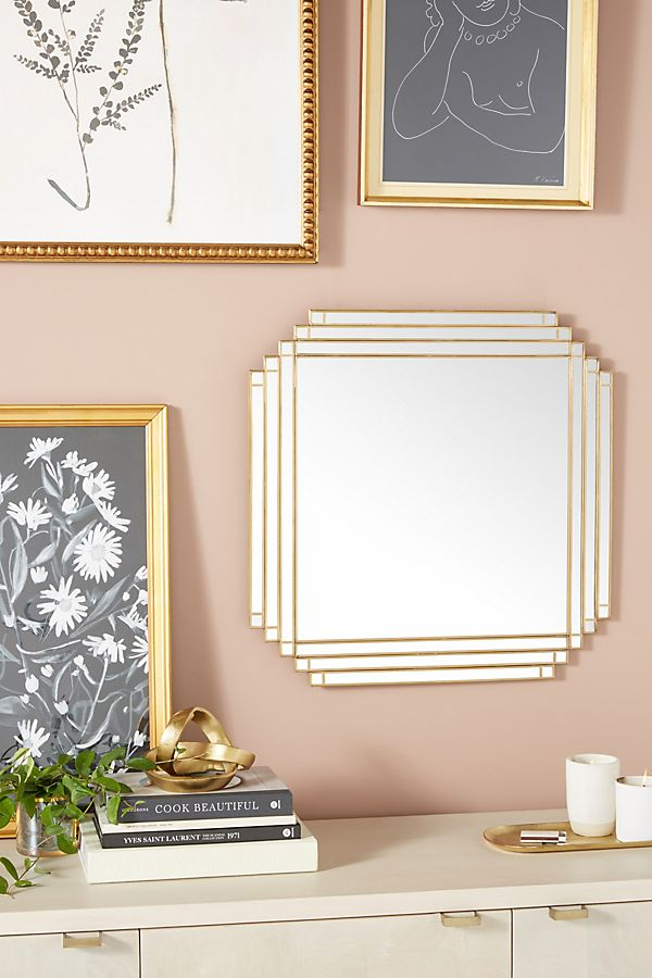 A geometric mirror adds some art deco class to your home